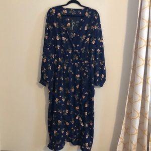 Long Sleeve Blue Floral midi faux wrap dress